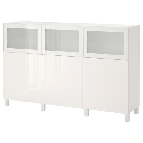 BEST Storage combination with doors, white Selsviken, high-gloss/light gray-green clear glass [dropAllAttributes :]