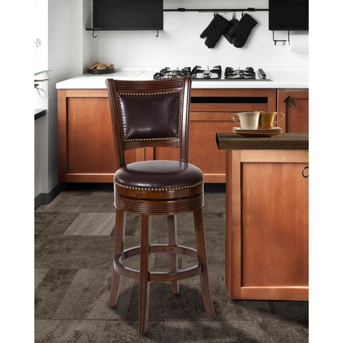 Hillsdale Furniture Lockefield 30 in. Brown Cherry Swivel Cushioned Bar Stool