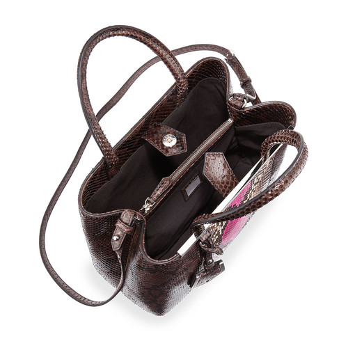 FENDI 2Jours Petite Python Satchel Bag, Coal Gray/Magenta