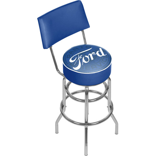 Ford Genuine Parts 31 in. Chrome Swivel Cushioned Bar Stool