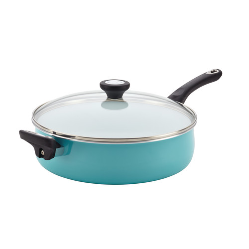 Farberware  PURECOOK(tm) Ceramic Nonstick Cookware 5-Quart Covered Jumbo Cooker with Helper Handle, Aqua