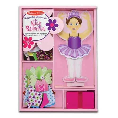 Melissa & Doug Deluxe Nina Ballerina Magnetic Dress-Up Wooden Doll With 27 Pieces of Clothing