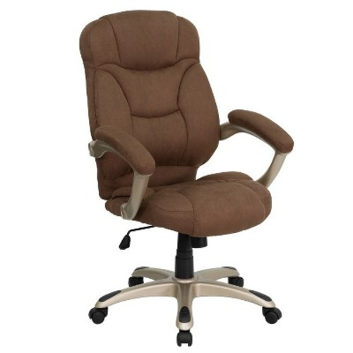 Flash Furniture High Back Brown Microfiber Contemporary Executive Swivel Chair with Arms [Brown Microfiber]