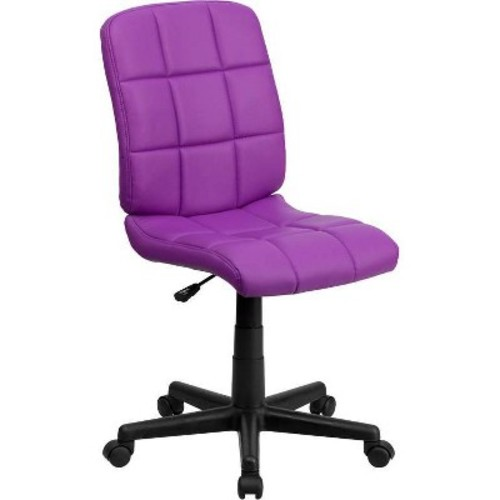 Mid-Back Purple Quilted Vinyl Swivel Task Chair - Flash Furniture