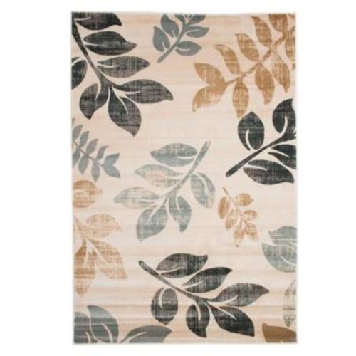 Lavish Home Opus Falling Leaves Cream 5 ft. x 8 ft. Area Rug