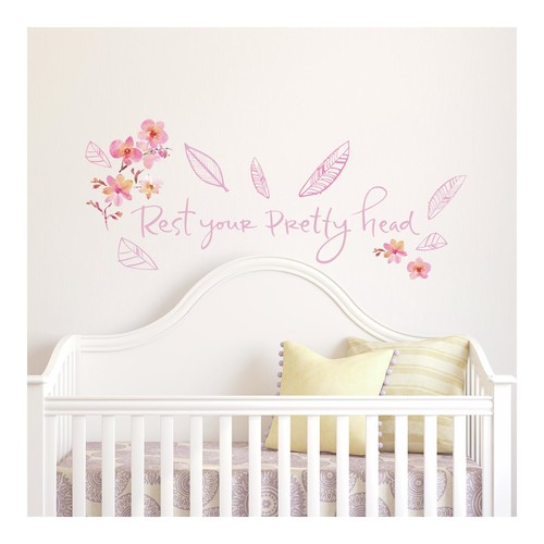 RoomMates Kathy Davis Pretty Head Quote Peel and Stick Wall Decals