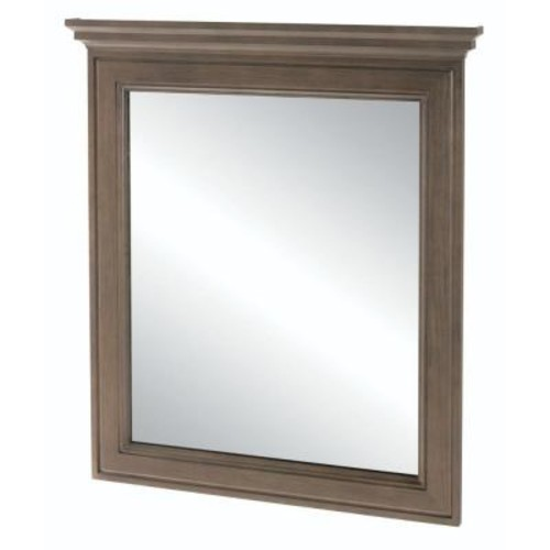 Home Decorators Collection Albright 30 in. x 34 in. Framed Bath Vanity Wall Mirror in Winter Gray