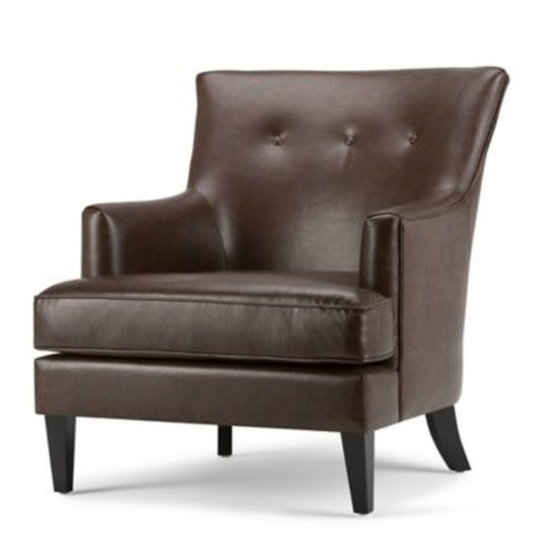 Simpli Home Galway Accent Chair in Distressed Brown