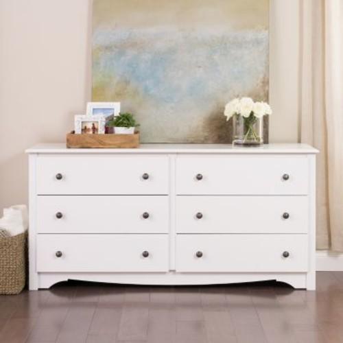 Prepac Monterey 6-Drawer White Dresser