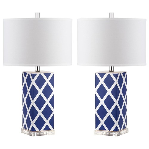 Set of Two Garden Lattice Table Lamps in Navy design by Safavieh