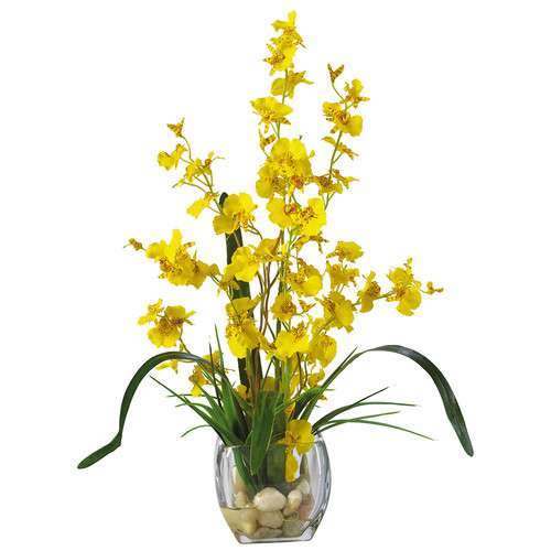 Nearly Natural Dancing Lady Orchid Liquid Illusion Silk Flower Arrangement