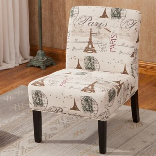 Roundhill Furniture Goodale Script Linen Print Fabric Armless Oversize Side Chair