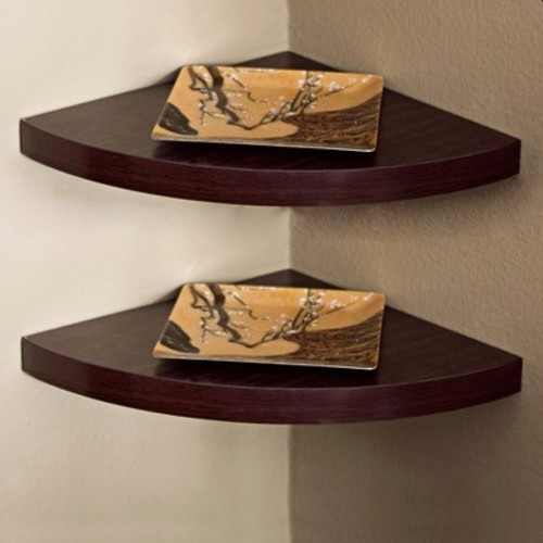 Walnut Wood Veneer Corner Wall Mount Radial Shelves Set of Two