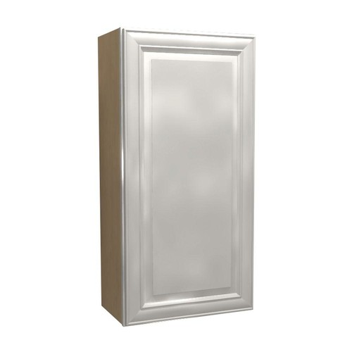 Home Decorators Collection Brookfield Assembled 12x36x12 in. Single Door Hinge Left Wall Kitchen Cabinet in Pacific White