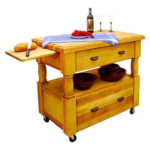 Catskill Craftsmen Island Europa Natural Kitchen Cart With Storage