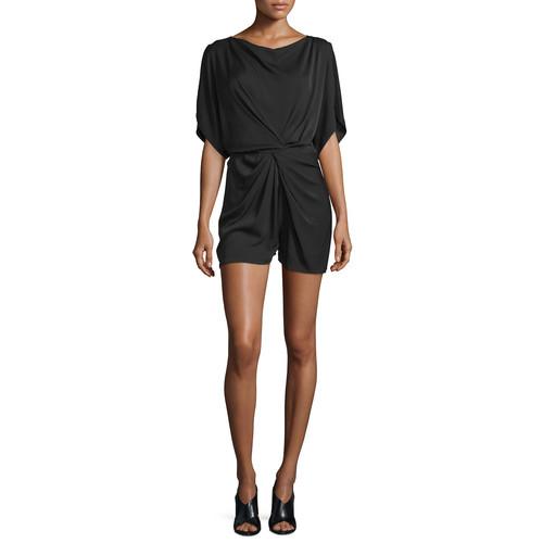 DIANE VON FURSTENBERG Maxinne Short-Sleeve Stretch Silk Romper, Black