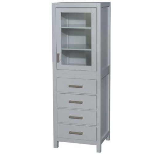 Wyndham Collection Sheffield 24 in. W x 71-1/4 in. H x 20 in. D Bathroom Linen Storage Tower Cabinet in Gray