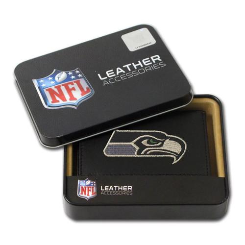 Seattle Seahawks Men's Black Leather Tri-fold Wallet