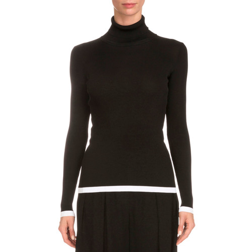GIVENCHY Tipped Rib-Knit Turtleneck Sweater, Black