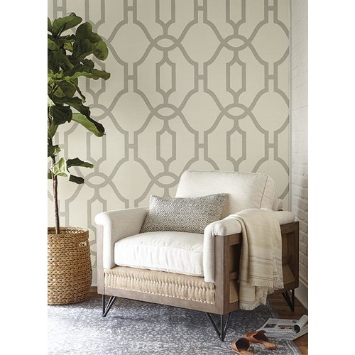 Woven Trellis Wallpaper in Quarry Grey on Cream from Magnolia Home Vol. 2 by Joanna Gaines - 2 [Quantity : 2]