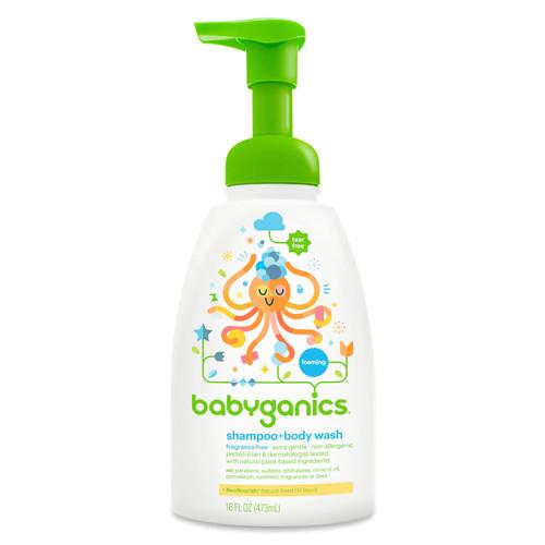 Babyganics Baby Shampoo + Body Wash- Fragrance Free- 16 Ounce Pump Bottle