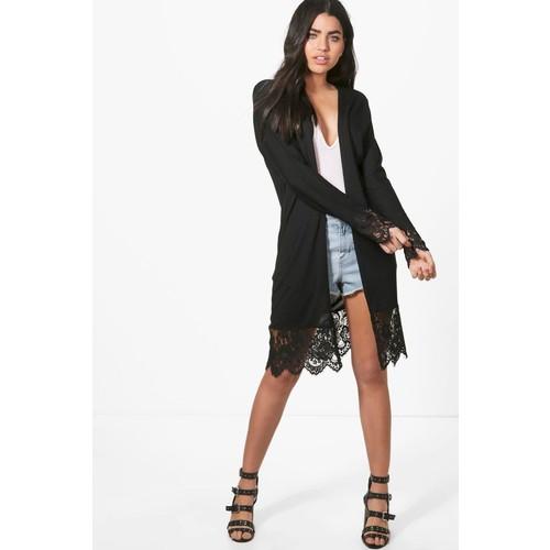 Harriet Lace Trim Fine Knit Maxi Kimono Cardigan