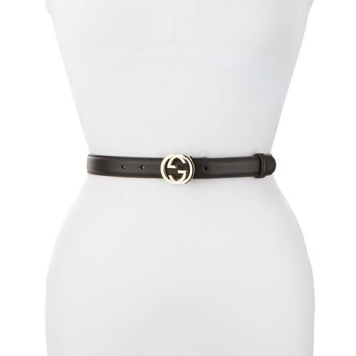 GUCCI Skinny Leather Logo-Clasp Belt