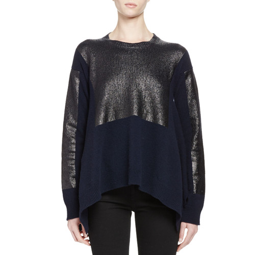 STELLA MCCARTNEY Metallic Long-Sleeve Asymmetric Sweater, Navy