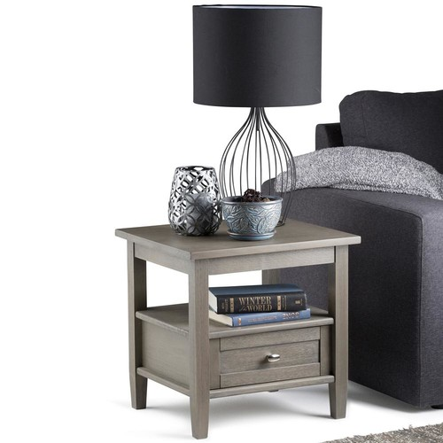 Simpli Home Warm Shaker Farmhouse Grey Storage End Table