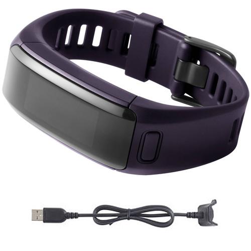 Garmin vivosmart HR Activity Tracker Regular Fit Imperial Purple Charging Cable Bundle