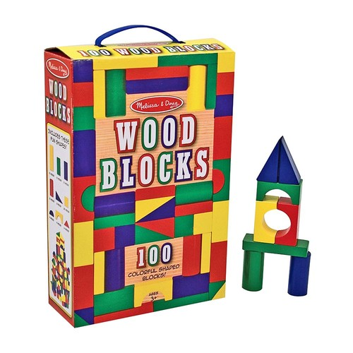 Melissa & Doug Wooden Building Blocks Set - 100 Blocks in 4 Colors and 9 Shapes [100 Blocks]