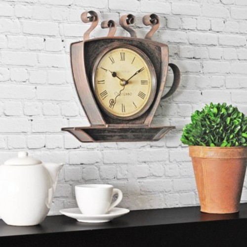 FirsTime Bronze Coffee Cup Wall Clock