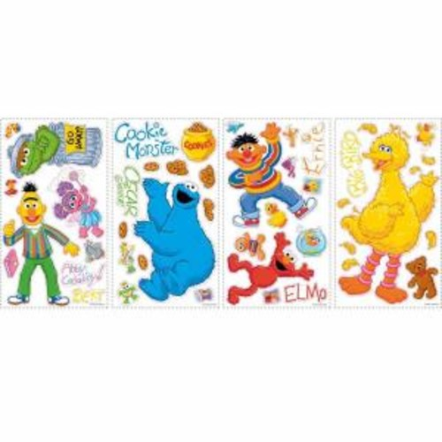 RoomMates 5 in. x 11.5 in. Sesame Street Peel and Stick Wall Decals (45-Piece)
