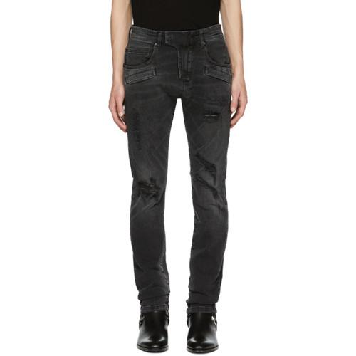 PIERRE BALMAIN Black Destroyed Biker Jeans