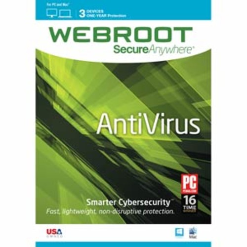 Webroot Internet Security Antivirus | 2017 | 3 Devices | 1 Year Subscription | PC/Mac Disc