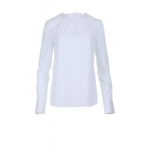 TIBI Satin Poplin Smocked Top