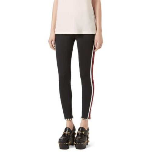 GUCCI Faux Pearl-Trim Striped Tech Jersey Leggings