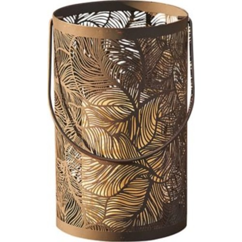 Smart Living Panama Lantern w/ Flowing Leaves Pattern and LED Candle