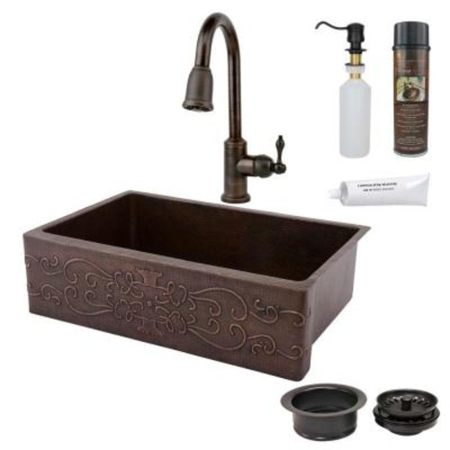 Premier Copper Products All-in-One Undermount Copper 33 in. Single Bowl Kitchen Sink with Scroll Design in Oil Rubbed Bronze