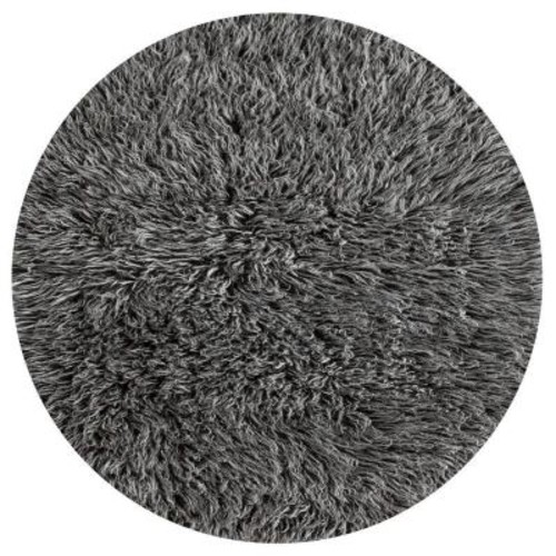 nuLOOM Genuine Greek Flokati Salt N Pepper 8 ft. x 8 ft. Round Area Rug