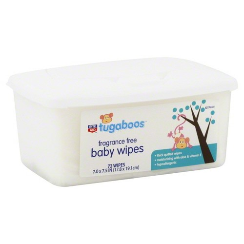 Rite Aid Tugaboos Baby Wipes, Fragrance Free, 72 wipes