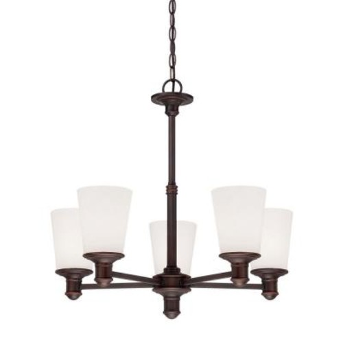 Millennium Lighting 5-Light Rubbed Bronze Chandelier with Etched White Glass