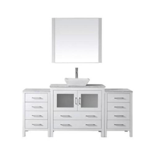 Virtu USA Dior 66 in. W x 18.3 in. D Vanity in White with Marble Vanity Top in White with White Basin and Mirror