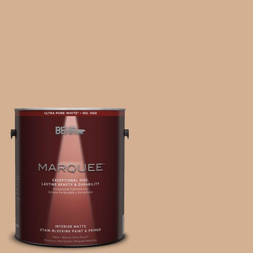 BEHR MARQUEE 1 gal. #MQ2-4 Butterscotch Amber One-Coat Hide Matte Interior Paint