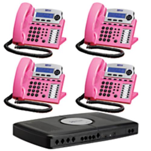 XBLUE Networks X16 Corded Telephone Bundle, Pink, Set of 4
