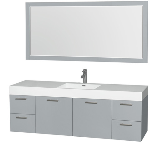 Wyndham Collection Amare Dove Grey Acrylic Resin Top Integrated Sink 72-inch Single Vanity with 70-inch Mirror