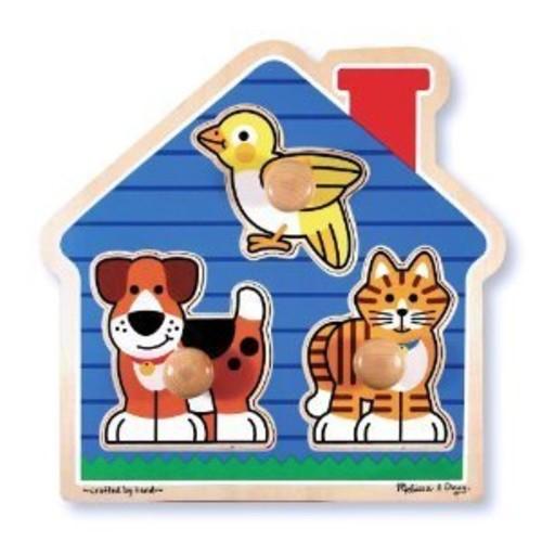 Melissa & Doug Barnyard Animals Jumbo Knob Wooden Puzzle - Horse, Cow, and Sheep [Barnyard Animals]