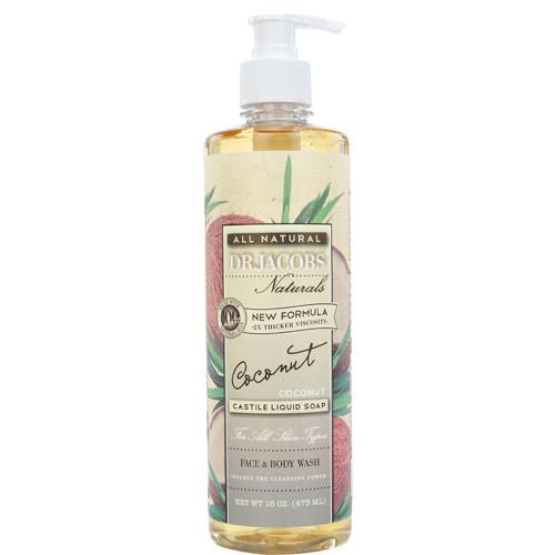 Dr. Jacobs Naturals Liquid Castile Soap Face & Body Wash Coconut -- 16 fl oz