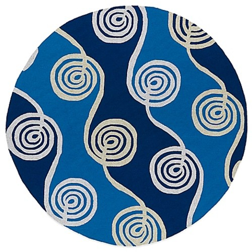 Kaleen Home & Porch Swirls 5-Foot 9-Inch Round Indoor/Outdoor Rug in Blue