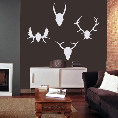 Mounted Antlers Large Wall Decal Set